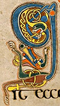 Book of Kells initial letter Q in celtic intricacies...: