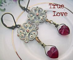 Happy Birthday July babies! Romantic Red Swarovski Heart & Patina Filigree earrings featuring July ruby birthstones, bohemian jewelry by deborahmcgovernjewelry on etsy, $11.00