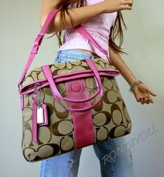 COACH LARGE PINK BROWN SIGNATURE SHOULDER CROSSBODY FOLD OVER TOTE BAG... (cost: 209.00)