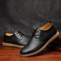 Big Size Men Leather Hollow Out British Style Breathable Casual Business Classic Lace Up Oxford Shoes Black Shoes Sneakers, Black Casual Shoes, Mens Vans Shoes, Mens Shoes Boots, Men's Shoes, Hot Shoes, Jordan Shoes For Men, Best Shoes For Men, Leather Men