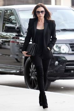 monochromatic black. love the suede over the knee boots.