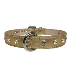 Style and substance - our Gold Swarovski Collar has both! This gorgeous, handmade dog collar features the finest leather and genuine Swarovski crystals. The craftsmanship and quality of materials used for these collars is second to none. Each crystal is hand set and secured with a rivet on back, to ensure none of the stones will detach. The sturdy leather ages beautifully, too. Your pooch will look fabulous wearing this collar for many years to come!  Made in USA.