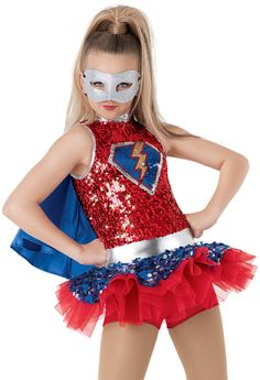 """Save the Day"" with this superhero ensemble from Weissman Costumes: Dance Recital Costumes, Girls Dance Costumes, Tutu Costumes, Cool Costumes, Dance Outfits, Super Hero Costumes, Character Costumes, Girl Dancing, Shows"
