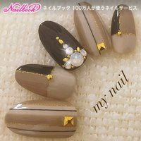 For nail photos registered in the nail book, … - Nail Designs Nude Nails, Matte Nails, Nail Manicure, Simple Nail Art Designs, Gel Nail Designs, Brown Nail Art, Brown Nails, Color Block Nails, Self Nail