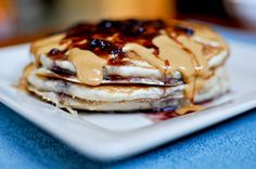 Whole wheat Peanut Butter & Jelly Pancakes - made these for my toddler daughter and my husband, they loved them!!  Will definitely make again.