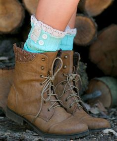 Look at this #zulilyfind! Mint Lace-Trim Leg Warmers #zulilyfinds