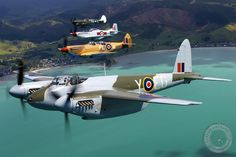 Mosquito Y-EG flies again after 60 years! In company with other Kiwi warbirds. Ww2 Aircraft, Fighter Aircraft, Military Aircraft, Fighter Jets, Military Weapons, De Havilland Mosquito, Ww2 Planes, Aircraft Pictures, Model