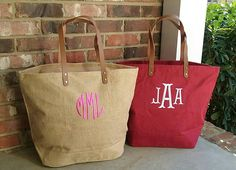 c880657c85 Set of 4 Personalized Monogrammed Large Jute Tote Bag with Leather Handles  - Monogram Bag - Lots of Colors! Bridesmaid or Wedding Party Gift