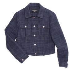 For Sale on - Indigo wool blend tweed cropped trucker style jacket with two patch pockets with flaps fastened by Chanel logo metal snap buttons. The same brushed silver Korean Fashion Work, Collarless Jacket, Chanel Jacket, Tweed Coat, Black Wool, Fashion Outfits, Womens Fashion, Jeans Style, Leather And Lace
