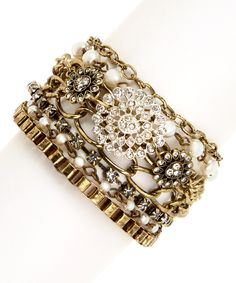 This Faux Pearl & Rhinestone Medallion Bracelet by Bijou International is perfect! #zulilyfinds