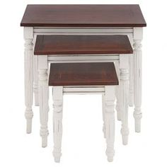 """Perfect for serving cocktails and canapes at your next family dinner, this these charming nesting tables showcase turned fluted legs and a 2-tone finish.  Product: Small, medium and large nesting tableConstruction Material: MahoganyColor: Cream and mahoganyDimensions: 23"""" H x 24"""" W x 16"""" D (large)"""