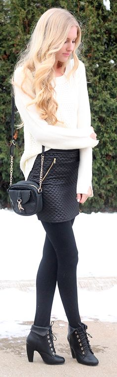 Black Quilted Leather Mini Skirt