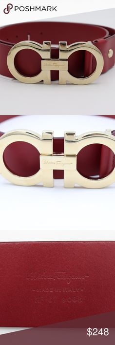 """Salvatore Ferragamo Red Leather Gold Gancini Belt NWT Salvatore Ferragamo Large Double Gancini Belt Brand New with attached tags, 100% Guaranteed Authentic!! MFSRP: $440.00 +tax Size: 38 Color: Red Salvatore Ferragamo iconic Gancini motif gains new prominence as an oversized buckle on wide leather belt. The rich red shade adds an unexpected pop of color to your more formal ensembles Salvatore Ferragamo belt in calfskin leather Wide leather belt, 1 3/4""""W Golden logo-engraved Gancini buckle…"""