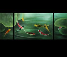 Japanese Koi Fish Painting Modern Wall Art Decor Canvas Print