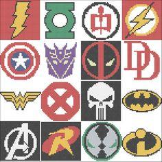 Marvel and DC characters Superheroes logo Avengers Batman Xmen Flash Cross Stitch Pattern Beaded Cross Stitch, Cross Stitch Embroidery, Cross Stitch Patterns, Loom Patterns, Crochet Patterns, Marvel Cross Stitch, Perler Bead Art, Plastic Canvas Patterns, Cross Stitching