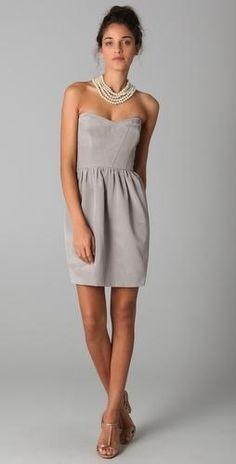 grey | cocktail dress | short | strapless