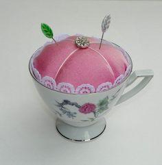Handmade Pincushion Repurposed Floral China Teacup Pink Satin Lace