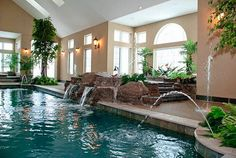 Fun Reasons To Own Luxury Swimming Pools – Pool Landscape Ideas Luxury Swimming Pools, Luxury Pools, Indoor Swimming Pools, Dream Pools, Swimming Pool Designs, Inside Pool, Indoor Water Features, Piscina Interior, Beautiful Pools