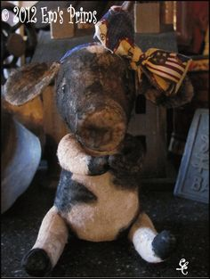 Primitive Country Decor Cow Doll folk art by emsprims on Etsy, $13.00