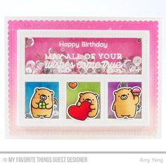 Stamps: Bitty Bears, Bit Birthday Sentiments Die-namics: Bitty Bears, Blueprints 27 Amy Yang #mftstamps