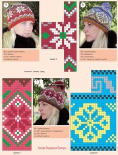 Вязанные на спицах шапочки с жаккардовыми узорами. Страница 139.