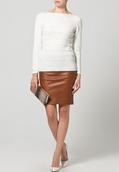 Leather skirt and pullover combination <3
