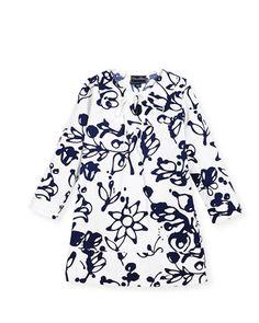Cotton+Scribbles-Print+Caftan,+White/Blue,+Size+2-14++by+Oscar+de+la+Renta+at+Neiman+Marcus.