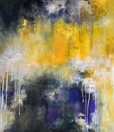 Abstrakte Malerei Original Modern blau gelb Kunst von AbstractArtM