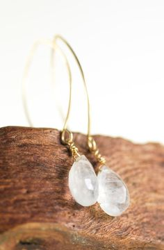 Kaimalie earrings gold moonstone earring gold, simple, tasteful, go with everything, and textural.