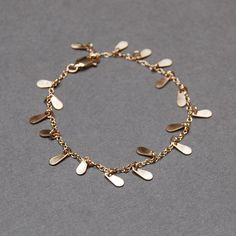 Solid 14K Yellow Gold Tiny TearDrop Bracelet by TinaKiDesignStudio, $272.00
