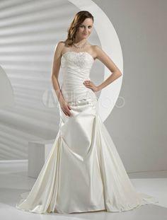 Sheath Sweetheart Strapless Beading Applique Wedding Dress - Milanoo.com