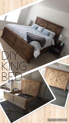 diy home decor - DIY Rustic Modern King Bed Home Decor Bedroom, Home Diy, Furniture Diy, Diy King Bed, Modern King Bed, Bedroom Diy, Diy Farmhouse Bed, Rustic Furniture Diy, Home Decor