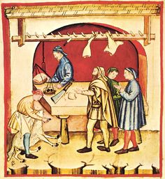 Neueste Fotos metzgerei tradition Ideen , This picture is showing a butcher doing his trade in a traditional manner. Medieval Market, Medieval Life, Medieval Manuscript, Illuminated Manuscript, Philippe V, Animal Slaughter, Medieval Crafts, Late Middle Ages, Renaissance