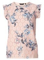 Womens Nude Floral Lace Ruffle Sleeve Top- White