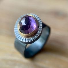 Rose-cut Amethyst set in 18K Gold bezel with patinated Sterling Silver textured ring. 18k Gold, Amethyst, Rings For Men, Jewellery, Sterling Silver, Rose, Men Rings, Jewels, Pink