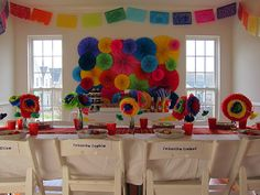 fiesta party ideas.  Love the tissue paper garland, and the wall backdrop!