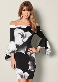 9f1e1e83ec87 All you need is this off the shoulder flare sleeved dress! Formal Dress  Shops,