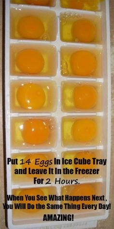 She Put Exactly 14 Eggs In Ice Cube Tray And Left It In The Freezer For 2 Hours. When She Saw What Happened Next She Decided To Do The Same Thing Every Day!but interesting) Freezing Eggs, Freezing Cheese, Freezing Lemons, Photo Food, Ice Cube Trays, Ice Cubes, Ice Tray, Herbal Medicine, Holistic Medicine