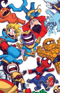 Thanos vs Marvel Heroes by Skottie Young