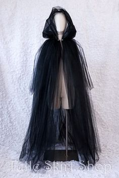 Dark and mysterious, this full length tulle cape the perfect ethereal shroud for a witch, ghost, spirit, zombie, wraith, specter, banshee or