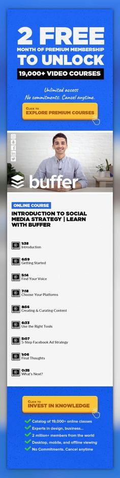 Introduction to Social Media Strategy   Learn with Buffer Marketing, Business, Social Media, Social Media Marketing, Content Strategy, Social Media Advertising, Buffer #onlinecourses #CoursesFree #onlinelearningtools   Create a social media strategy that works with digital marketing strategist Brian Peters and Buffer in this 45-minute, straightforward class. Whether you're looking to fosterbra...