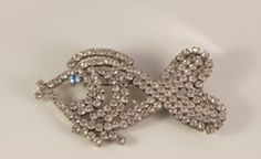 Large Fish Brooch Vintage Jewelry White Rhinestone Fish Blue Eye Kissing Pin Figural Brooch Light Open Back Brooch Wedding Pin Sea Pisces by VintageForAges on Etsy