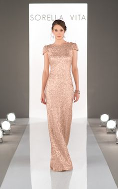 Sorella Vita Sequin Bridesmaid Dress. An elegant boatneck with a dramatic cowl back blending glamour with old-hollywood vintage flair.