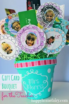 Gift Card Bouquet for the Teacher at happyhomefairy.com