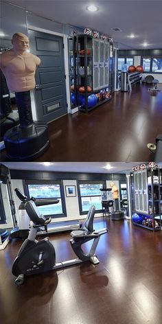 15 Home Gyms Worth Sweating In Basement gym ideas Home Gym Style Workout Room Home, Workout Rooms, At Home Workouts, Workout Tips, Workout Gear, Kitchen Builder, Home Gym Flooring, Home Gym Decor, Basement Gym