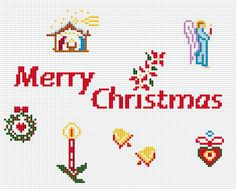 SET of TINY Christmas Motifs and Fonts 2, Easy and little Cross Stitch PDF Pattern. $2.50, via Etsy.