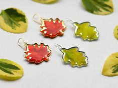 Autumn Cozy, Leaf Earrings, Whimsical, Autumn Fashion, Bloom, Coral, Fall, Style, Autumn