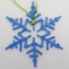 Fused Glass Snowflake Ornament Suncatcher - Arctic Blue Iridescent - One Of A Kind - Petite