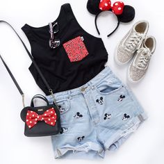 is opening soon : Minnie Mouse Pocket Tee Disney World Outfits, Cute Disney Outfits, Disney Themed Outfits, Outfits For Teens, Trendy Outfits, Girl Outfits, Summer Outfits, Cute Outfits, Disney Mode