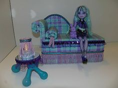 Monster High Furniture Chaise + Table + Lamp Works for Twyla! Doll Not Included